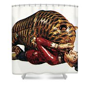 India: Tiger Attack Shower Curtain
