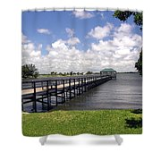 Indialantic Pier On The Indian River Lagoon In Central Florida Shower Curtain
