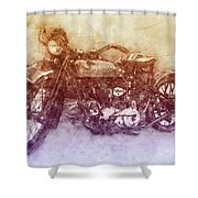 Indian Chief 2 - 1922 - Vintage Motorcycle Poster - Automotive Art Shower Curtain