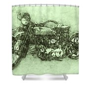 Indian Chief 3 - 1922 - Vintage Motorcycle Poster - Automotive Art Shower Curtain