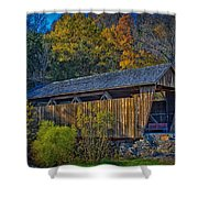 Indian Creek Covered Bridge In Fall Shower Curtain
