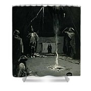 Indian Fire God -the Going Of The Medicine Horse Shower Curtain