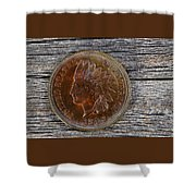 Indian Head Cent In Uncirculated Condition On Old Wood  Shower Curtain