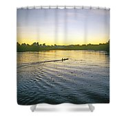 Indian In Dugout Canoe Shower Curtain
