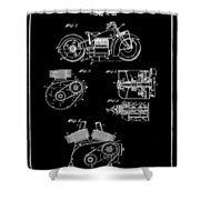 Indian Motorcycle Patent 1943 Black Shower Curtain