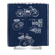 Indian Motorcycle Patent 1943 Blue Shower Curtain