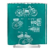 Indian Motorcycle Patent 1943 Green Shower Curtain