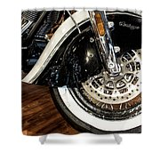 Indian Motorcycle Wheel Shower Curtain