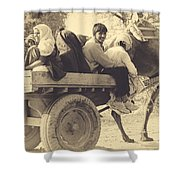 Indian People In Camel Cart- Sepia Shower Curtain