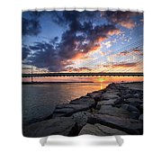 Indian River Inlet And Bay Sunset Shower Curtain