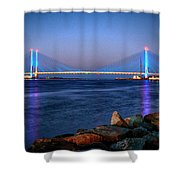 Indian River Inlet Bridge Twilight Shower Curtain