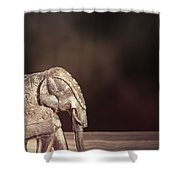 Indian Silver Elephant Shower Curtain