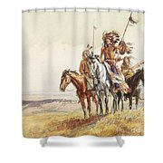 Indian War Party Shower Curtain