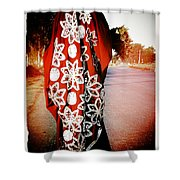 Indian Woman In Red- Vignette Shower Curtain