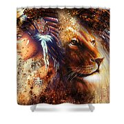 Indian Woman Wearing  Feather Headdress With Lion And Abstract Color Collage Shower Curtain