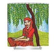 Indian Woman With Weeping Willow Shower Curtain