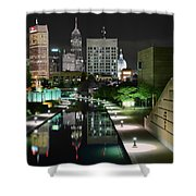 Indianapolis Canal Night View Shower Curtain