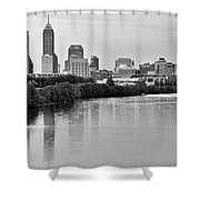 Indianapolis Charcoal Panoramic Shower Curtain