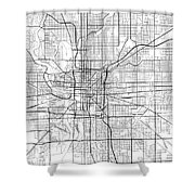 Indianapolis Indiana Usa Light Map Shower Curtain