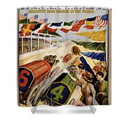 Indianapolis Motor Speedway Vintage Poster 1909 Shower Curtain