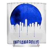 Indianapolis Skyline Blue Shower Curtain