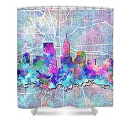 Indianapolis Skyline Watercolor 5 5 Shower Curtain
