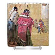 Indians Outside Taos Pueble Shower Curtain