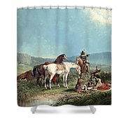 Indians Playing Cards Shower Curtain