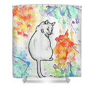 Indifferent Cat Shower Curtain