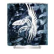 Indigo Bird Flight Contemporary Shower Curtain