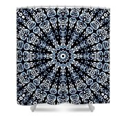 Indigo Flow Blue Kaleidoscope Shower Curtain