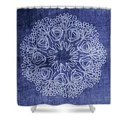 Indigo Mandala 1- Art By Linda Woods Shower Curtain