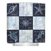 Indigo Nautical Collage Shower Curtain