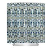 Indigo Ocean - Caribbean Tile Inspired Watercolor Swirl Pattern Shower Curtain