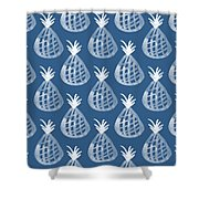 Indigo Pineapple Party Shower Curtain by Linda Woods