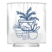 Indigo Potted Succulents- Art By Linda Woods Shower Curtain by Linda Woods