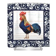 Indigo Rooster 2 Shower Curtain