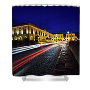 Indigo Sky And Car Lights Over Plaza Espana And Puente Nuevo Bri Shower Curtain