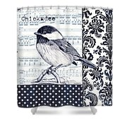 Indigo Vintage Songbird 2 Shower Curtain