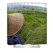 Indonesian Rice Farmer Shower Curtain