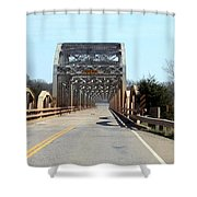 Industrial Bridge Over The Red River Shower Curtain