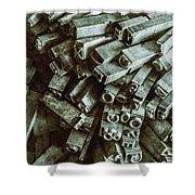Industrial Letterpress Typeset  Shower Curtain
