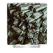 Industrial Letterpress Typeset  Shower Curtain