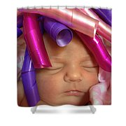 Infant With Ribbon Curls Shower Curtain