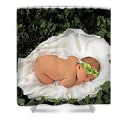Newborn Infant Lying In Ivy Shower Curtain