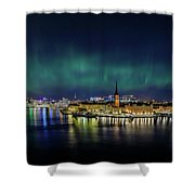 Infinite Aurora Over Stockholm Shower Curtain
