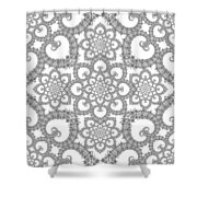 Infinite Lily In Black And White Shower Curtain