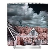 Infrared Glass Pyramids Panorama Shower Curtain