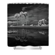 Infrared Palms Shower Curtain