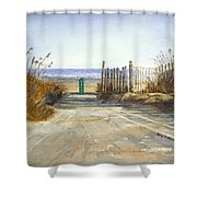 Initial Exposure Shower Curtain